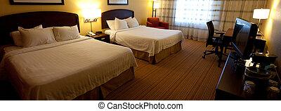部屋, ホテル, 2, ベッド, 内部, すてきである