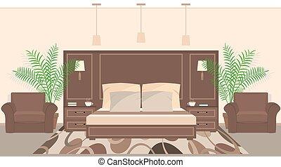 部屋, ホテル, houseplants, 色, 暖かい, 内部, 家具