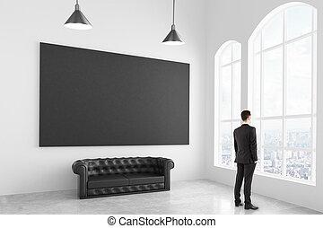 部屋, ポスター, ソファー, 現代, の上, ブランク, 黒い ライト, ビジネスマン, 白, chesterfield, mock