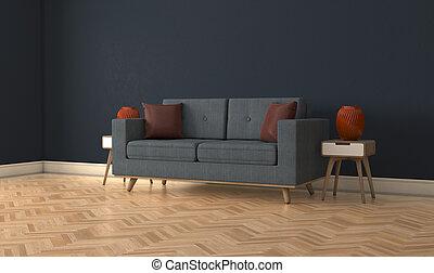 部屋, モデル, ソファー, 内部, 現代