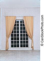 部屋, ライト, ドア, curtainsin, 上に