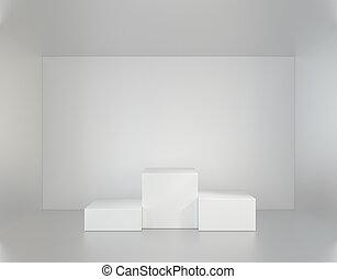 部屋, レンダリング, presentation., 台座, 白, 空, 3d