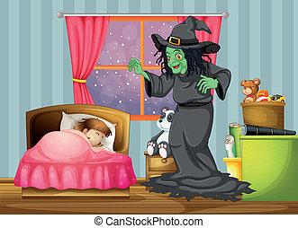 部屋, 中, 睡眠, 見る, 魔女, 女の子