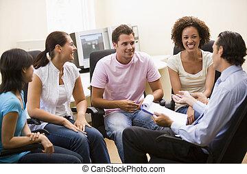 部屋, 人々, 寄付, 4, コンピュータ, 講義, 人