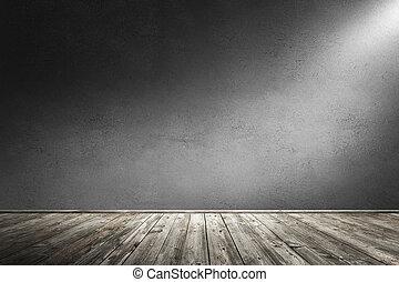部屋, 具体的な 壁, floor., レンダリング, イラスト, 内部, 木製である, 3d, 汚い