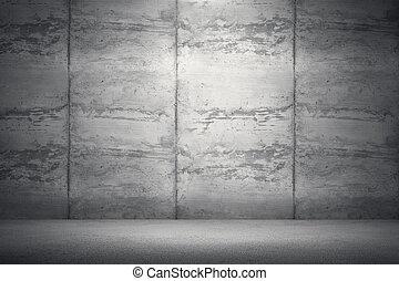 部屋, 具体的な 壁, floor., レンダリング, イラスト, 内部, 3d, 汚い