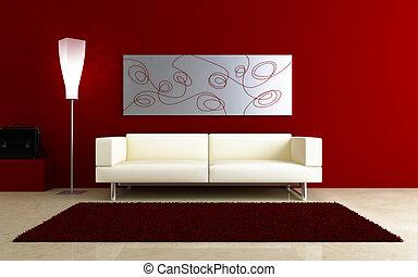 部屋, 内部, -, ソファー, 白い赤, 3d