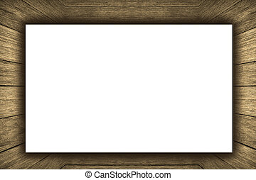 部屋, 内部, 型, ∥で∥, 木製の壁, 木製の 床, そして, 白, ブランク, プラカード, 背景