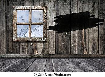 部屋, 内部, 背景, 木製である, 窓, 床, 壁, 型