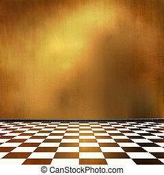 部屋, 内部, 身につけられた, 表面, 古い, グランジ, 産業
