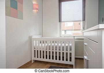 部屋, 単純である, 現代, 装飾, 赤ん坊, 内部, 白