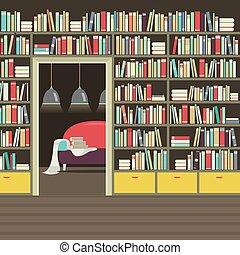 部屋, 型, イラスト, ベクトル, 内部, 読書