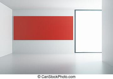 部屋, 壁, ポスター, 赤い白, 空