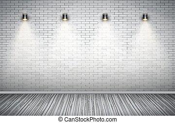 部屋, 壁, 型, 白い煉瓦, スポットライト