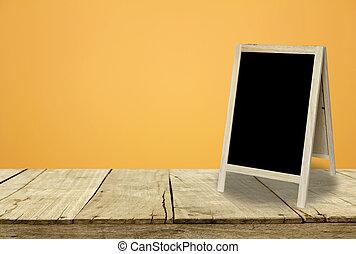 部屋, 壁, 黒板, 三脚, 内部, 背景, オレンジ
