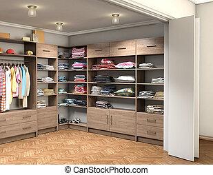 部屋, 大きい, 衣服, イラスト, ドレッシング, 3d