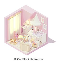 部屋, 子供, ベクトル, 等大, 赤ん坊