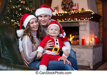 部屋, 家族, お祝い, モデル, ソファー, 前部, 家, 暖炉, クリスマス, 幸せ