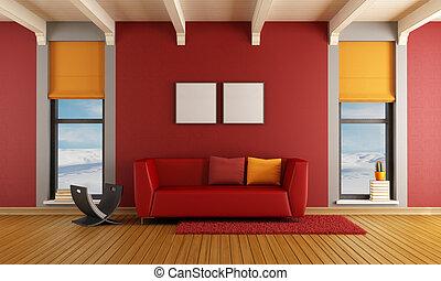 部屋, 家, 暮らし, 赤い山