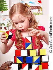 部屋, 幼稚園児, プレーしなさい, ブロック, 子供