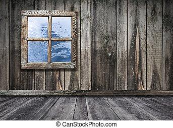 部屋, 床, 木製である, 型, 壁, 窓, 背景, 内部
