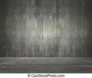 部屋, 床, 木製の壁, 内部, 空