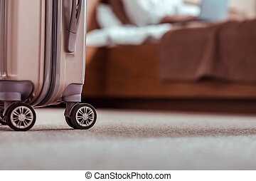 部屋, 手荷物, ある, ホテル, 去ること, 袋, 準備された
