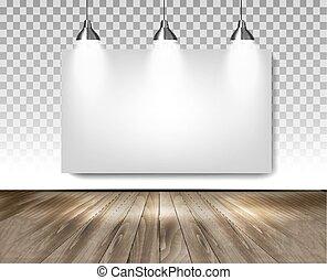 部屋, 木製である, concept., 灰色, floor., 3, ライト, vector., ショールーム