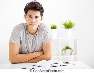 部屋, 本, 暮らし, 人, 微笑, リラックスした, 読書, 若い