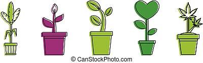 部屋, 植物, アイコン, セット, 色, アウトライン, スタイル