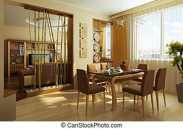 部屋, 現代, レンダリング, 夕食, 内部, 3d