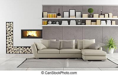 部屋, 現代, 暖炉, 暮らし