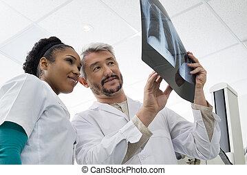 部屋, 胸, 分析, 放射線技術者, 検査, x 線