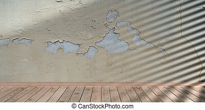 部屋, 薄れていった, 3d, テンプレート, スペース, presentation., 木製の床, 壁, 皮をむかれた, イラスト, 空, 年を取った