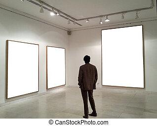 部屋, 見る, フレーム, ギャラリー, 空, 人