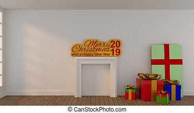 部屋, 贈り物の箱, 明るい, カラフルである, クリスマス