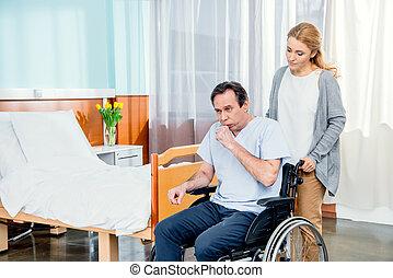 部屋, 車椅子, 人, 病院, 妻