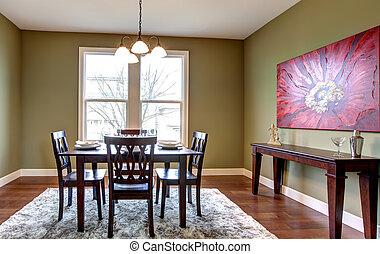 部屋, 食事をする, 壁, 緑, painting., 赤