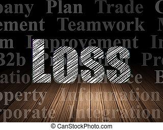 部屋, concept:, 損失, 暗い, グランジ, ビジネス