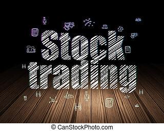 部屋, concept:, 暗い, 株, グランジ, 取引, 金融