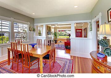 部屋, cozy., 食事をする, 緑, 贅沢, 赤