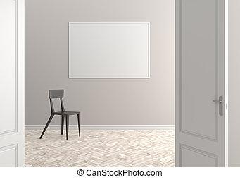 部屋, door., イラスト, スカンジナビア人, interior., 開いた, 空, 3d