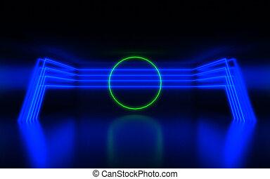 部屋, light., 抽象的, ネオン, バックグラウンド。, 背景, 未来派, 3d