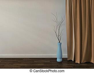 部屋, render, vase., 黄色, ガラス, 背景, 内部, 空, 3d