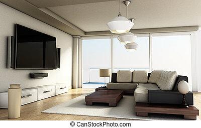 部屋, tv, 現代, floor., 大きい, 窓, イラスト, 寄せ木張りの床, 3d, 痛みなさい, 4k