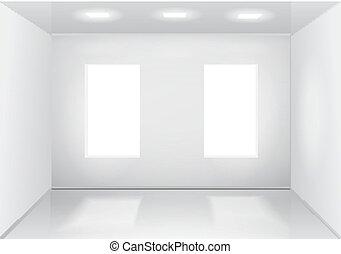 部屋, veiw, windows., イラスト, ベクトル, 前部, 白, 空