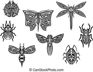 部落, 紋身, 集合, 由于, 裝飾, 元素, ......的, 昆虫