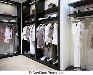 部門, ......的, 婦女, 衣服, 以及, 鞋子, 在, 商店