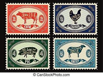 郵便切手, セット, ペット
