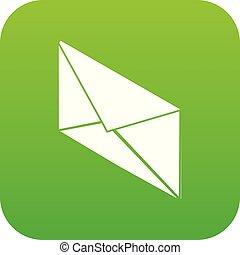 郵便, ベクトル, 緑, 手紙, アイコン